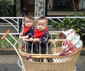 双子用ベビーカーとして。