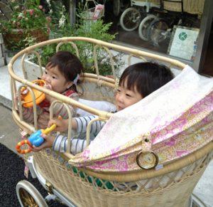 兄弟で二人乗りできるベビーカー。